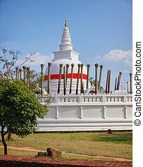 White Dome of Thuparamaya in Anuradhapura - White, bell...