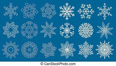 Huge set of blue snowflakes - Set of white flat and linear...