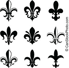 Fleur De Lis Vector Icon Set Isolated Elements