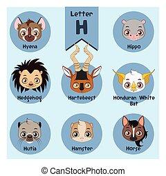 Animal portrait alphabet - Letter H