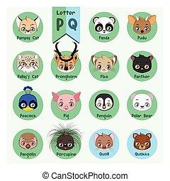 Animal portrait alphabet - Letter P and Q