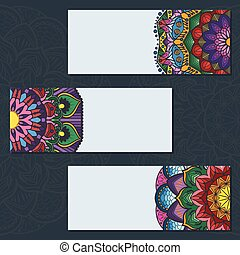 Collection of colorful mandala banners on blue background