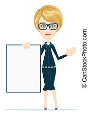Portrait of the business woman with a represent folder. Full...