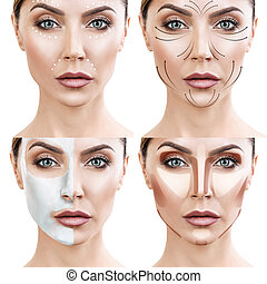 Woman step by step makes skin care procedures. - Beautiful...