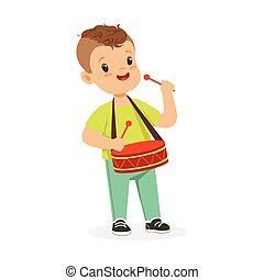 Cute little boy playing drum, young musician with toy musical instrument, musical education for kids cartoon vector Illustration