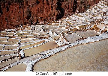 Salt ponds - Maras salt ponds located at the Urubamba, Peru