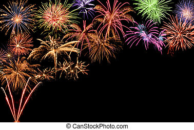 Colorful fireworks with copy-space - Fantastic colorful...