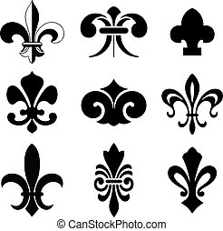 Fleur De Lis Vector Icon Set.  Isolated Elements