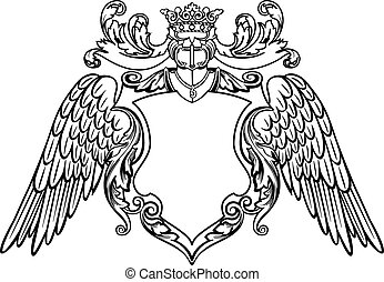 Winged Emblem - Coat of Arms Vector Illustration. Colors are...