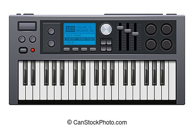 Music Synthesizer. Realistic Style Electronic Piano. Vector