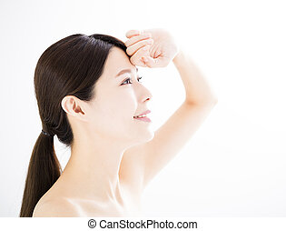 young woman with skin care concept