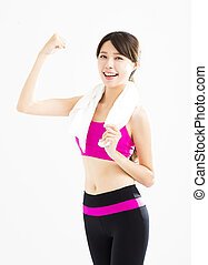 young happy fitness woman working out