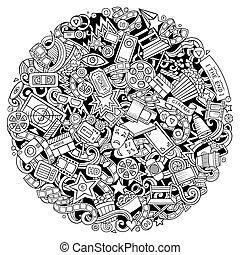 Cartoon vector doodles Cinema illustration. Line art,...