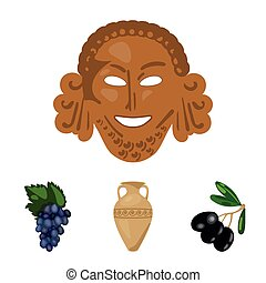 Greece, olive, branch, vase .Greece set collection icons in cartoon style vector symbol stock illustration web.