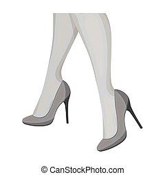 Female feet in heels. Women's shoes single icon in...