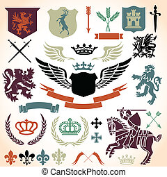 Heraldry Ornament Set - Heraldry Icon Vector Set Colors are...