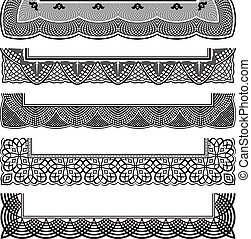 Ornate Border Set - Repeating border elements with corners...