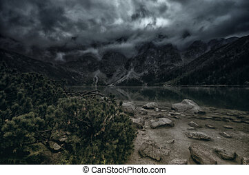 Morskie Oko, Zakopane, Poland, Dark morning in Tatra...