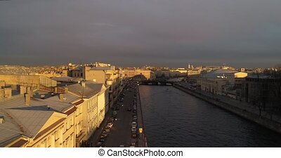The roofs of St. Petersburg Aerial drone river Neva - The...