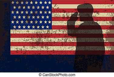Serviceman on the background of the US flag..eps