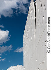 Detail of Futuristic Megastructure: White Building Facade at...