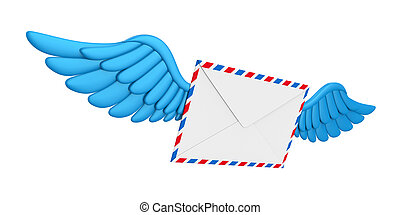 Flying Wings Mail Envelope isolated on white background. 3D...