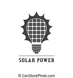 solar power concept icon - picture of black and white...