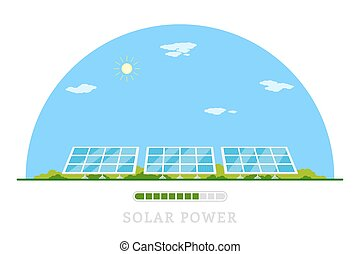 solar energy concept - picture of solar batteries, flat...