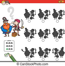 educational shadow game activity with pirates - Cartoon...
