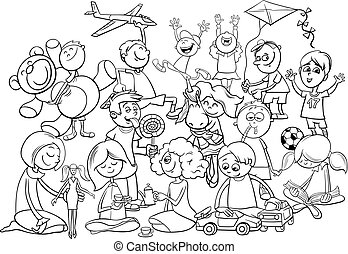 playful children group coloring book - Black and White...