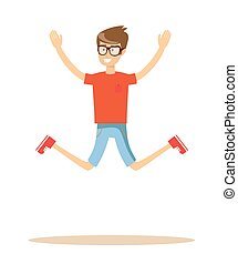 Active guy jumping in joy, isolated on white