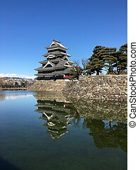 Matsumoto crow castle main tower on a snow day in Japan