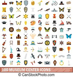 100 museum center icons set, flat style - 100 museum center...