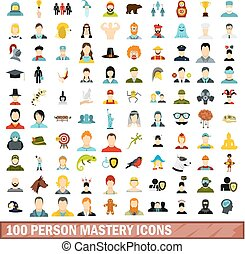 100 person mastery icons set, flat style - 100 person...