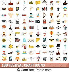 100 festival craft icons set, flat style - 100 festival...