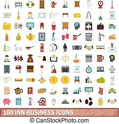 100 inn business icons set, flat style