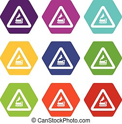 Warning sign railway crossing without barrier icon set color hexahedron