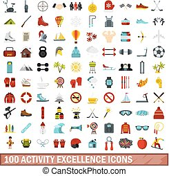 100 activity excellence icons set, flat style