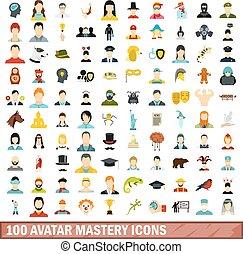 100 avatar mastery icons set, flat style - 100 avatar...