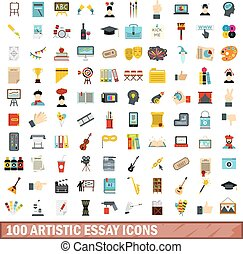 100 artistic essay icons set, flat style
