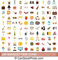 100 banquet firm icons set, flat style - 100 banquet firm...