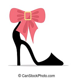 Womens Shoe with High Stiletto Heel and Bow Vector - Womens...