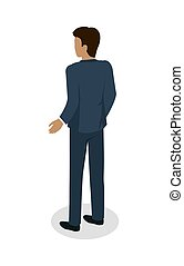 Male in Business Suit Standing Back Flat Design - Male in...