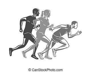 Set of Runners Silhouettes. Logo for Sport Company