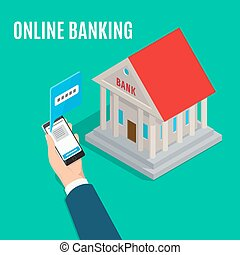 Online Banking Isometric Projection Vector Concept - Online...