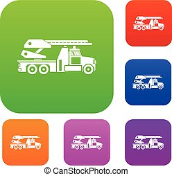 Fire engine set collection - Fire engine set icon in...