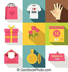 Mothers day icon set, flat style
