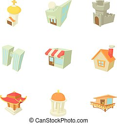 Building icons set, cartoon style