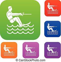 Water skiing man set collection - Water skiing man set icon...