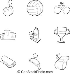 Sport things icons set, outline style - Sport things icons...